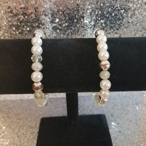Silver Bead and Pearl Stretch Bracelet Set